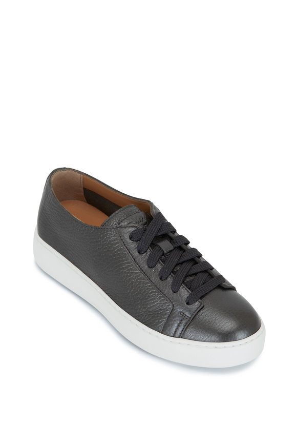 Santoni Cleanic Anthracite Metallic Leather Sneaker