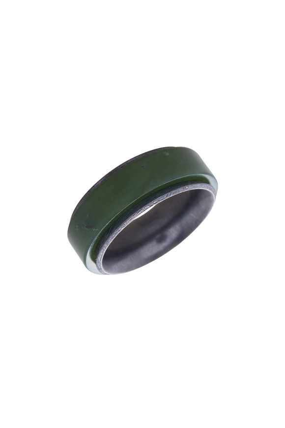 Todd Reed Sterling Silver Green Jade Ring