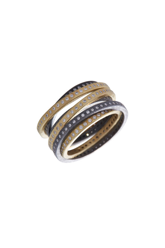 Todd Reed Yellow Gold & Sterling Silver Multi Band Ring