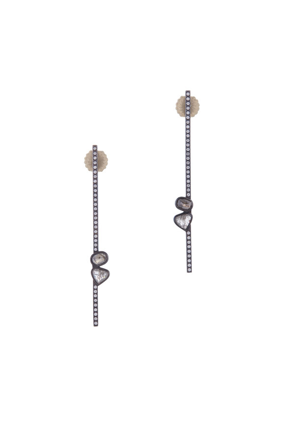 Todd Reed Sterling Silver Diamond Stick Earrings