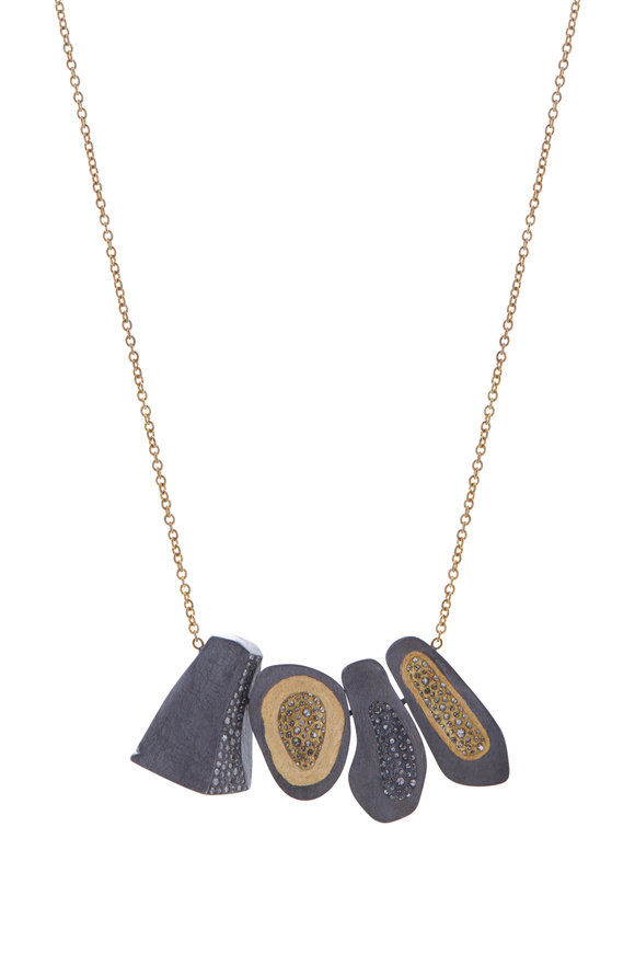 Todd Reed Gold & Sterling Silver Four Pendant Necklace