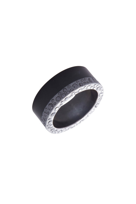 Todd Reed Sterling Silver Black Jade & Black Diamond Band