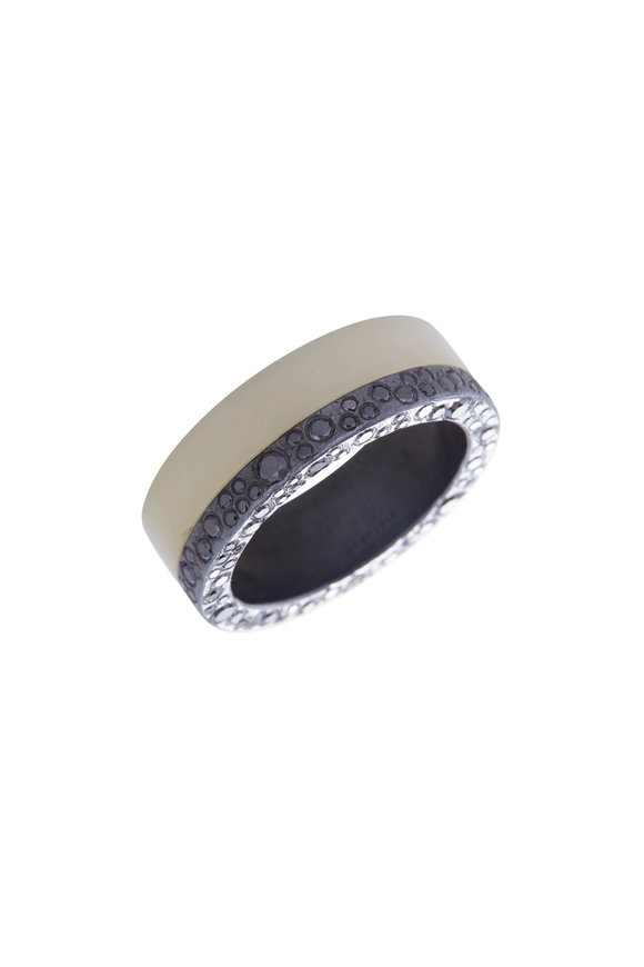 Todd Reed Sterling Silver White Jade & Black Diamond Band