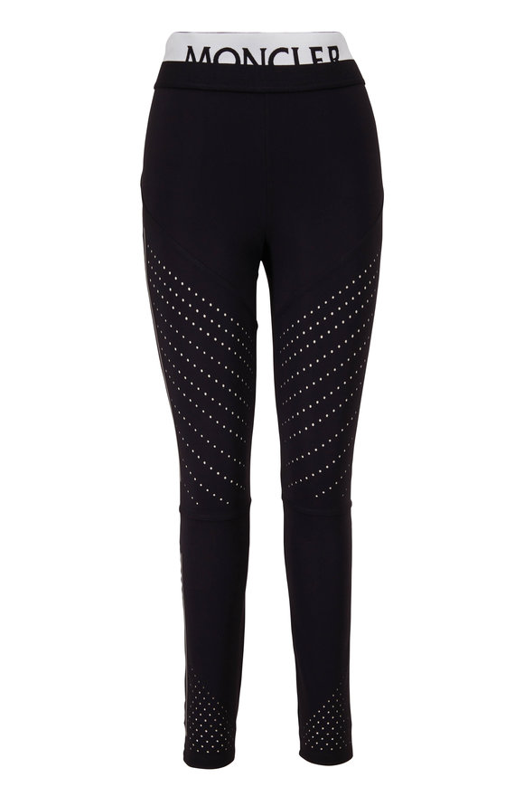 Moncler Black Perforated Logo Leggings