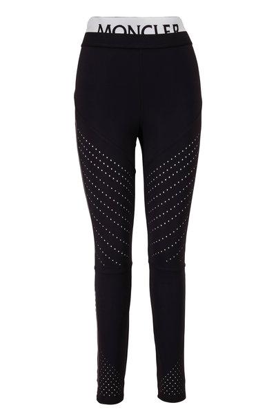 Moncler - Black Perforated Logo Leggings