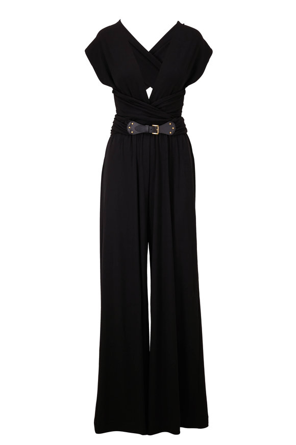 Michael Kors Collection Black Wrap Belt Wide Leg Jumpsuit
