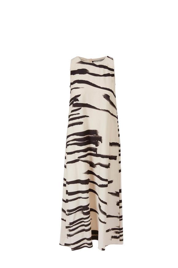 Lafayette 148 New York Ross Creme Fraiche Zebra Stripe Sleeveless Dress