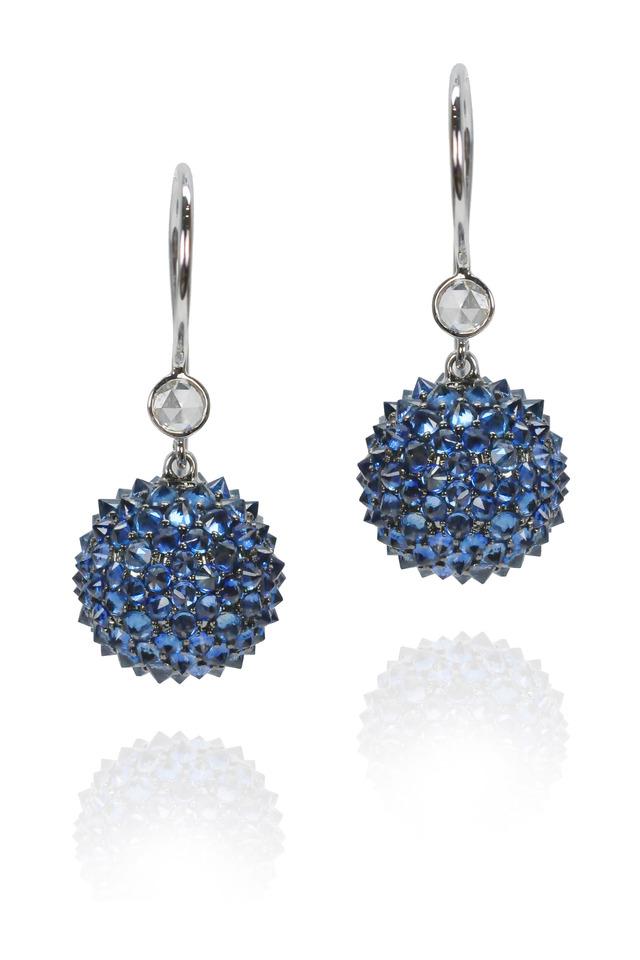 Blue Sapphire White Gold Diamond Earrings
