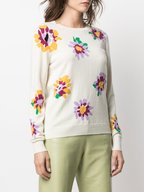 Chinti & Parker - Cream Scattered Intarsia Floral Sweater