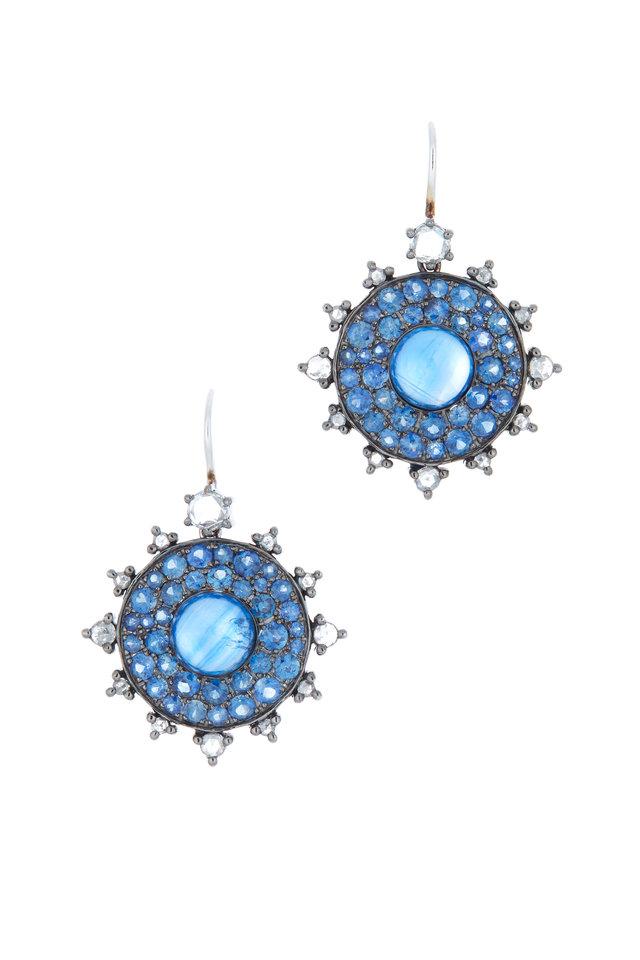18K White Gold Sapphire Sunburst Earrings