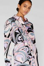 Pucci - Multicolor Silk Long Sleeve Belted Dress
