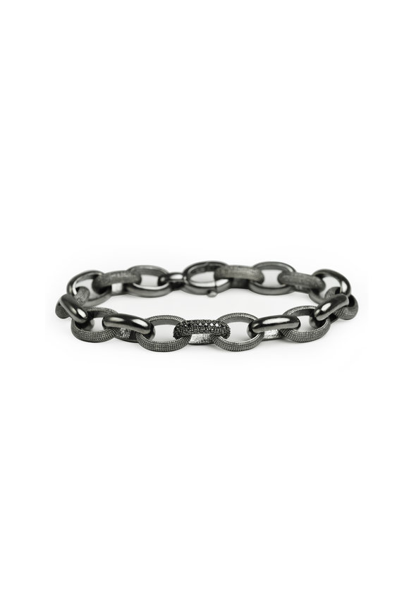 .925Suneera Sterling Silver Neil Black Diamond Link Bracelet