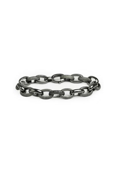 .925Suneera - Sterling Silver Neil Black Diamond Link Bracelet