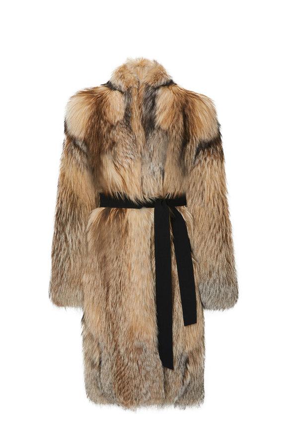 LaPointe Natural Smokey Fox Cocoon Coat