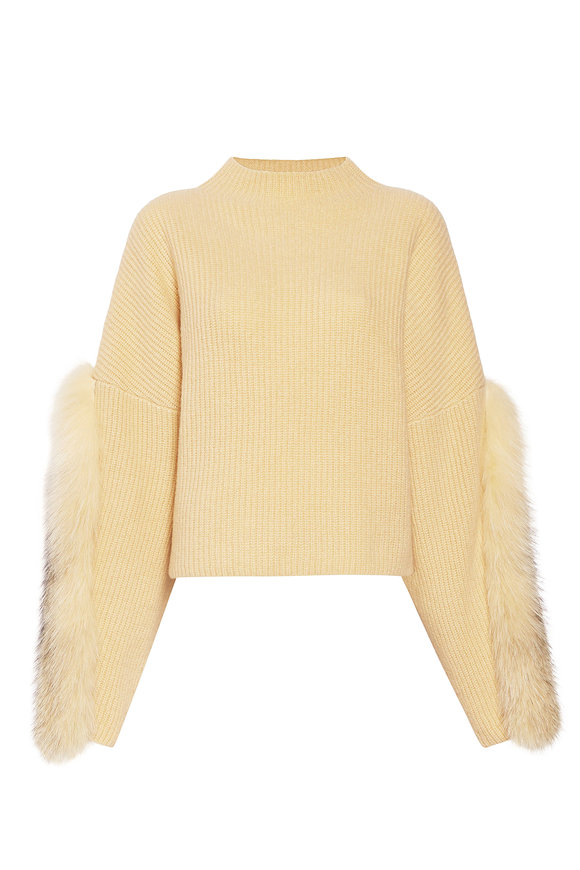 LaPointe Pale Yellow Airy Cashmere, Silk & Fur Sweater