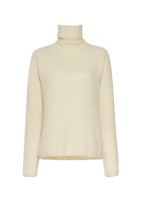 LaPointe Cream Airy Cashmere Silk Ribbed Turtleneck