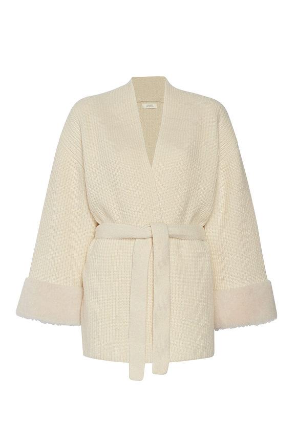 LaPointe Cream Cashmere & Silk Shearling Kimono Cardigan