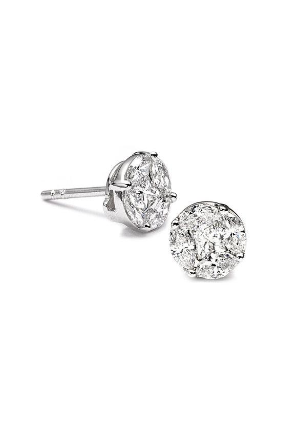 Nam Cho 18K White Gold Invisible Diamond Studs