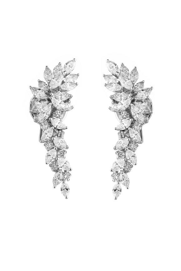 Yeprem 18K White Gold Mixed Diamond Earrings