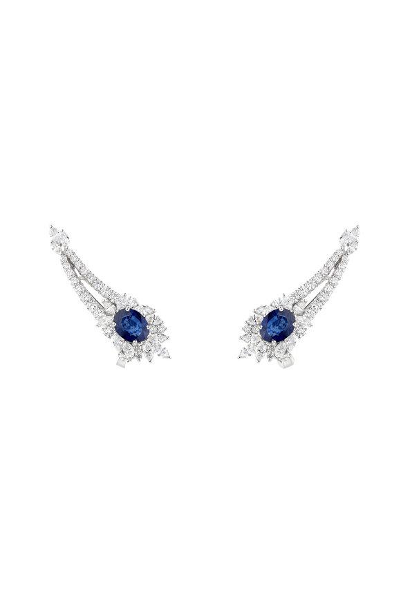 Yeprem 18K White Gold Diamond & Sapphire Ear Climbers