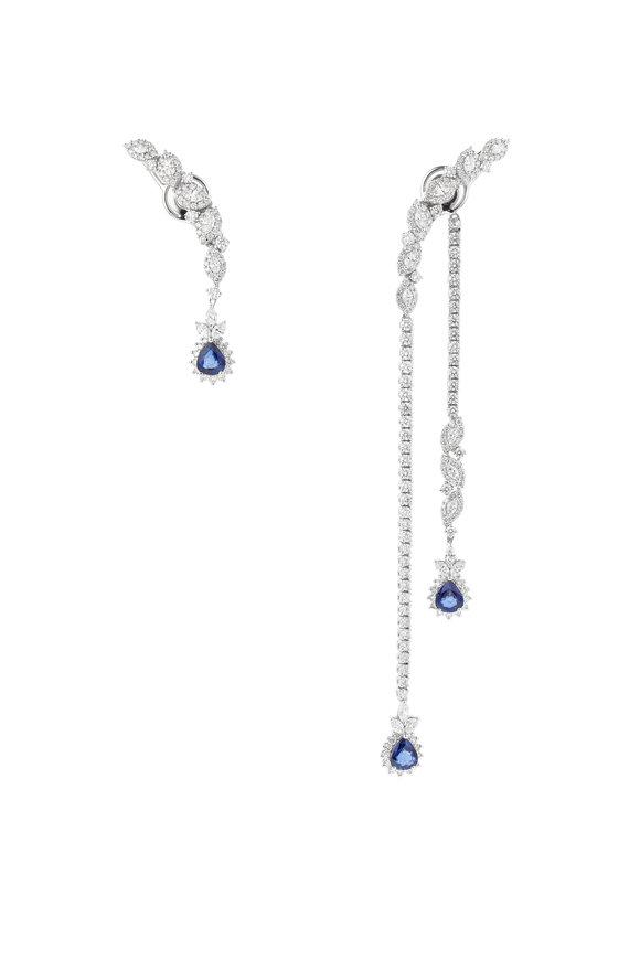 Yeprem 18K White Gold Asymmetric Sapphire Drop Earrings