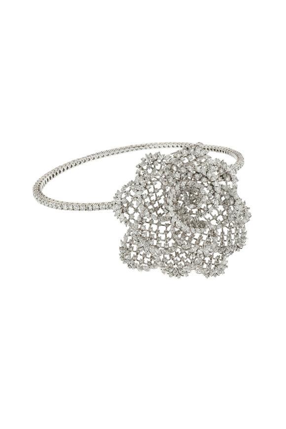 Yeprem 18K White Gold Diamond Flower Necklace