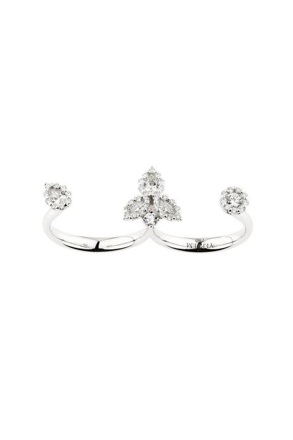 Yeprem 18K White Gold Diamond Two Finger Cuff Ring