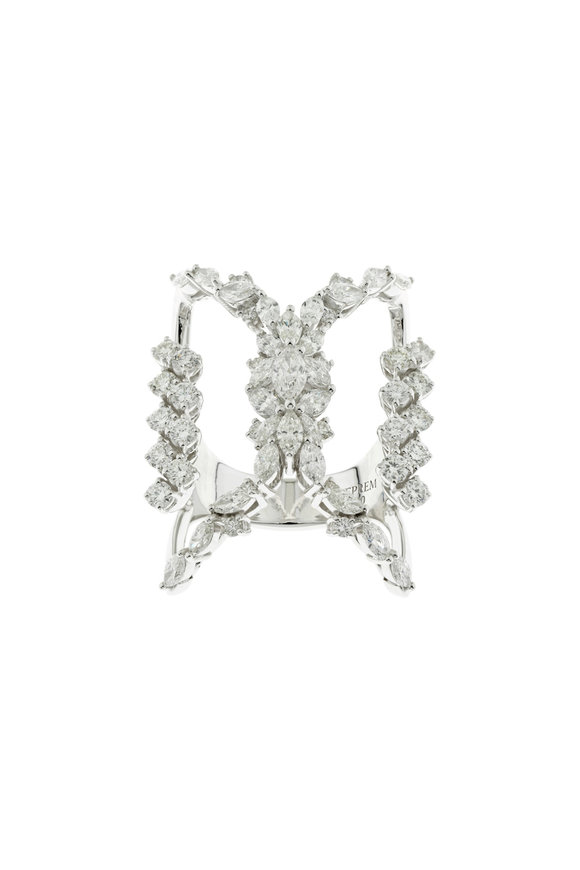 Yeprem 18K White Gold Openwork Diamond Ring