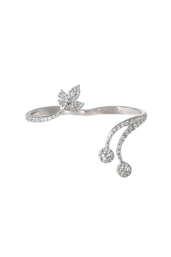 Yeprem 18K White Gold Two Finger Diamond Ring