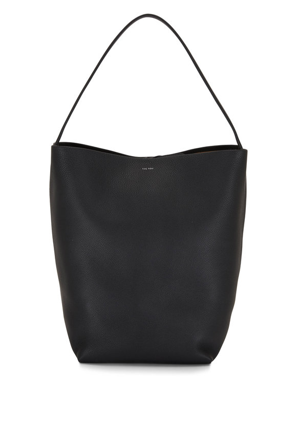 The Row N/S Park Black Lux Grain Leather Tote