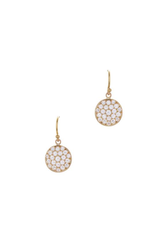 Caroline Ellen 20K Yellow Gold Pavé Lentil Earrings