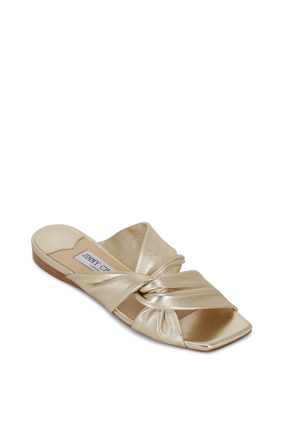 Jimmy Choo Narisa Champagne Napa Leather Flat Slide