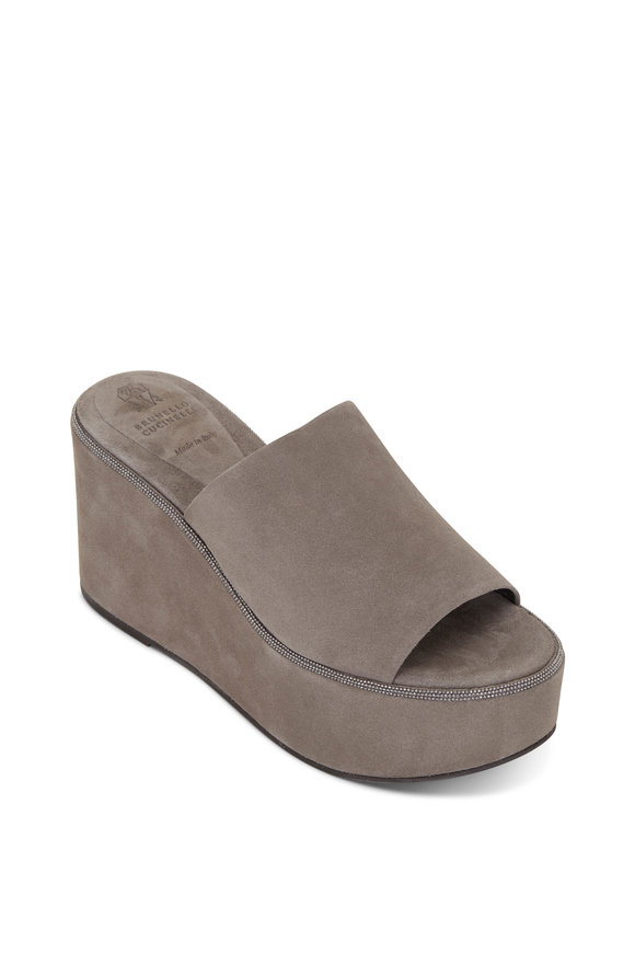 Brunello Cucinelli Taupe Suede Platform Wedge, 80mm