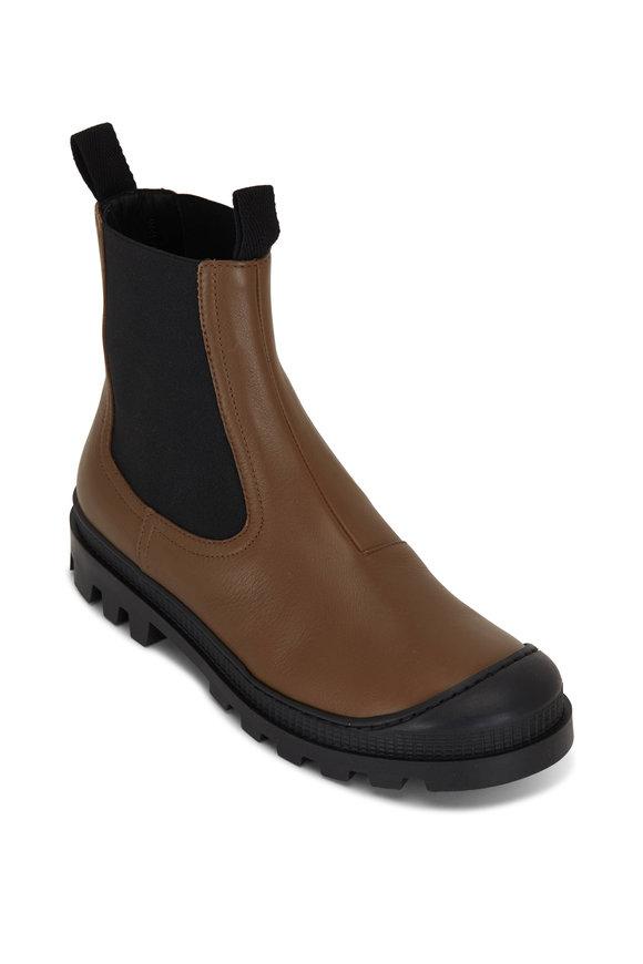 Loewe Khaki Leather Double Gore Chelsea Boot