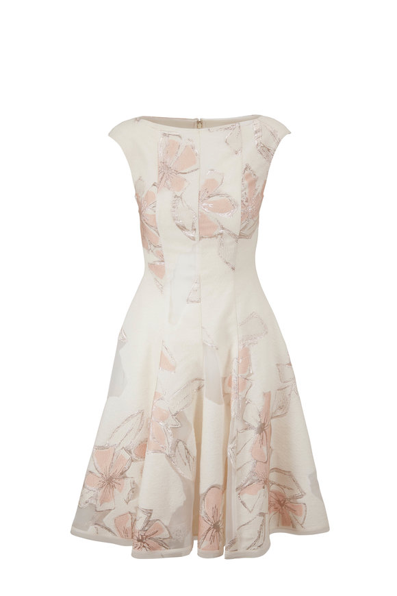 Talbot Runhof Korbut21 Ivory Wool & Silk Jacquard Dress