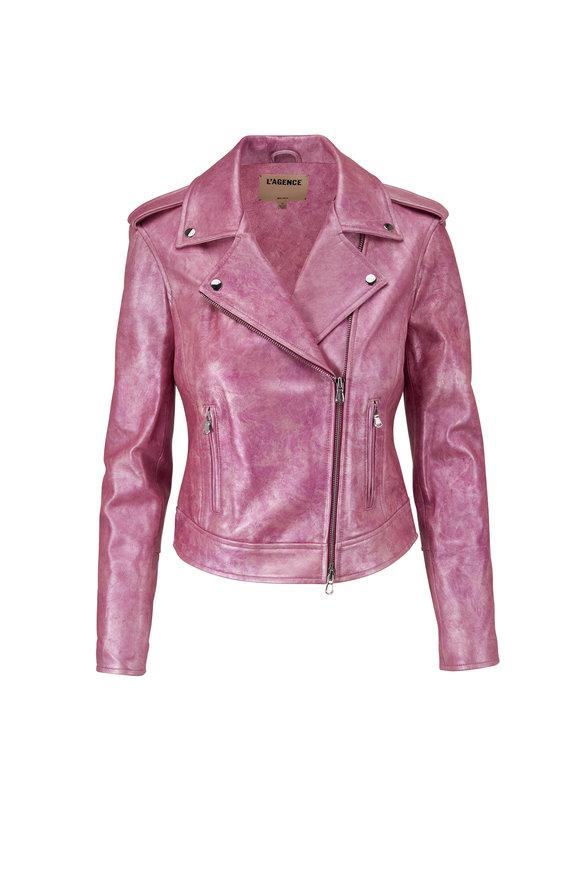L'Agence Rose Leather Biker Jacket