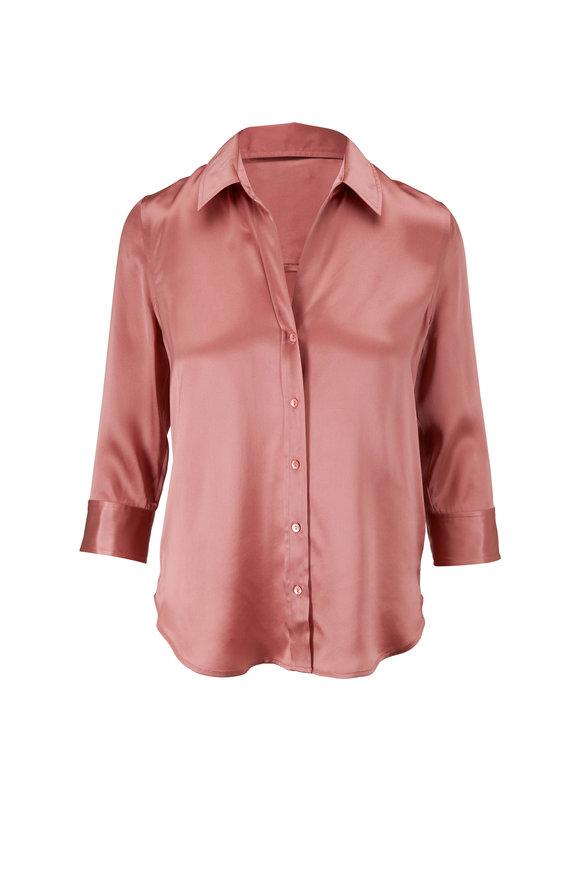 L'Agence Dani Rose Silk Three-Quarter Sleeve Blouse
