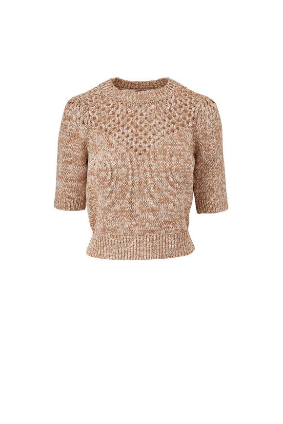 Veronica Beard Tyrie Ivory Multi Elbow Sleeve Sweater