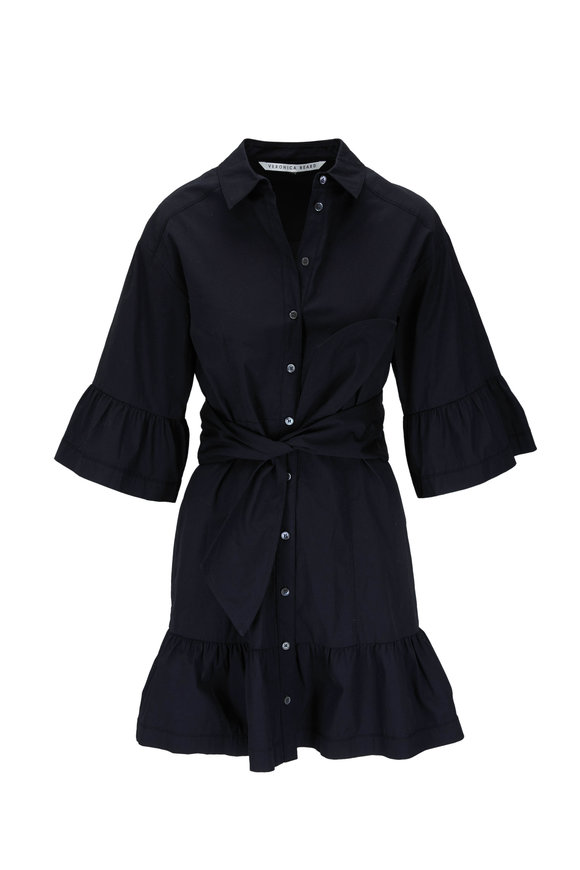 Veronica Beard Luriane Black Flounce Sleeve Mini Dress