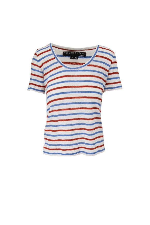Veronica Beard Benji Rust & Blue Stripe Linen T-Shirt