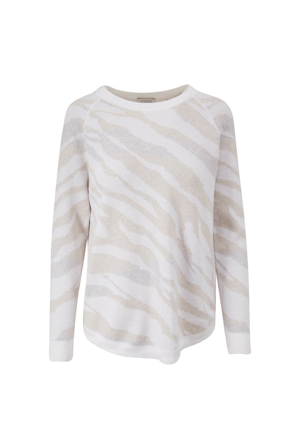 Kinross White Multi Wave Print Raglan Sleeve Sweater
