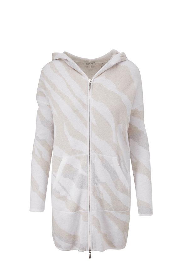 Kinross White Multi Cotton & Cashmere Wave Print Hoodie
