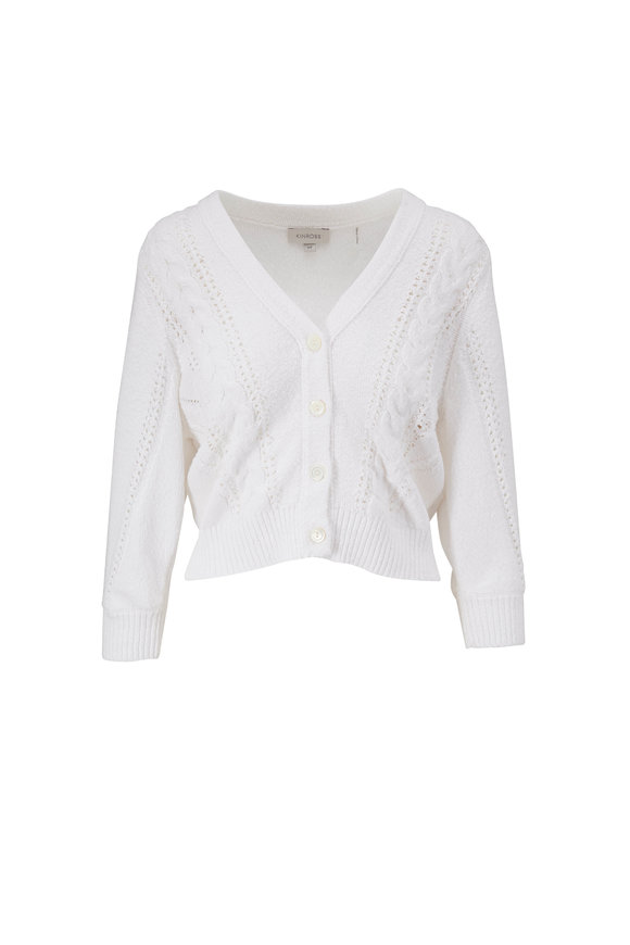 Kinross White Cotton Cable Knit Cardigan