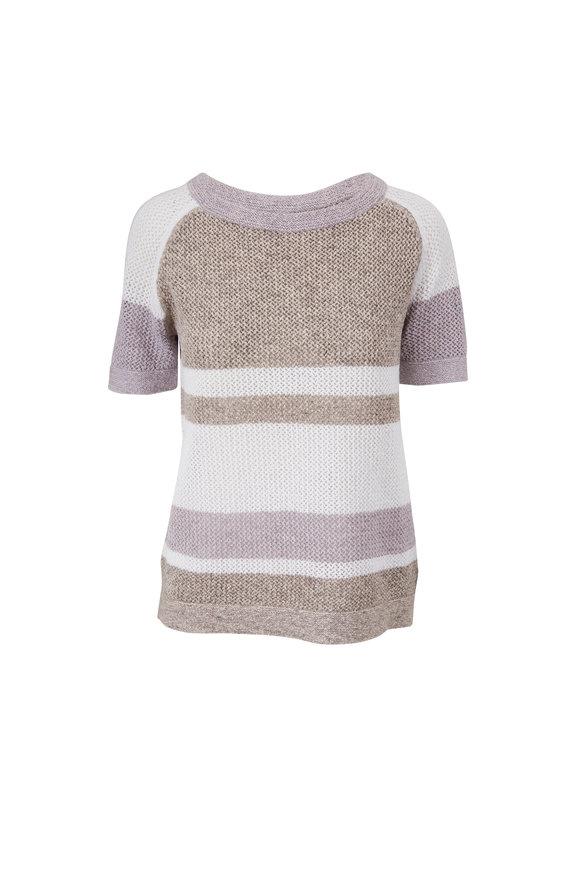 Kinross Boardwalk Multi Cotton Stripe Sweater