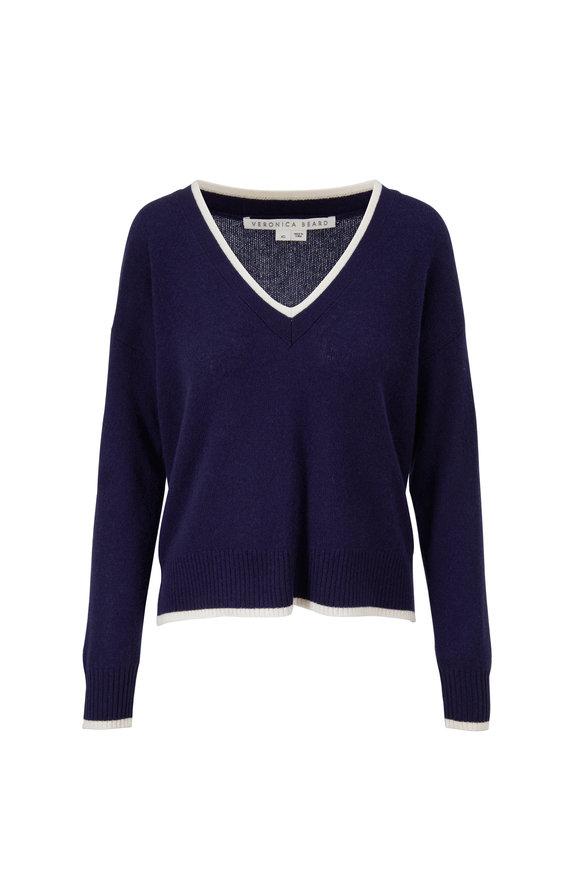 Veronica Beard Estora Navy Cashmere V-Neck Sweater