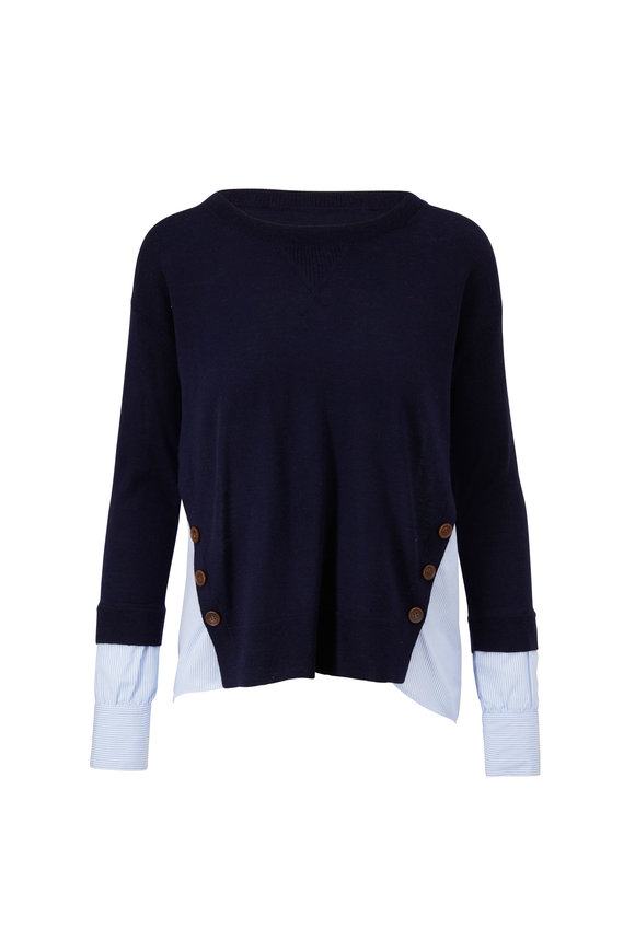Veronica Beard Sionne Navy Mixed Media Pullover