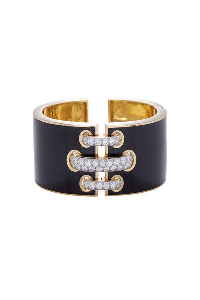 David Webb - Yellow Gold Black Enamel & Diamond Shoelace Cuff