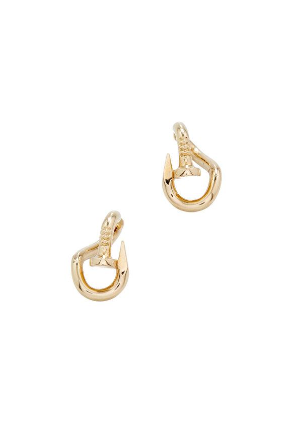 David Webb 18K Yellow Gold Bent Nail Earrings