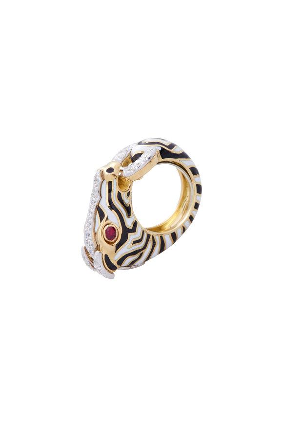 David Webb 18K Yellow Gold Diamond & Ruby Zebra Ring