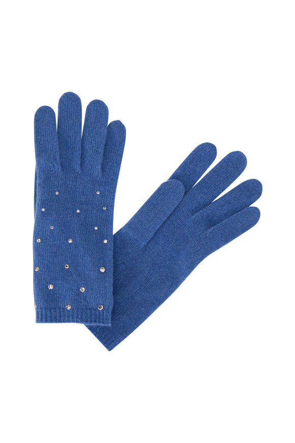 Carolyn Rowan Pottery Blue Cashmere Scattered Crystal Gloves